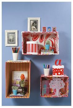 Boxes that organize and decorate - Fabric Crafts Diy Crafts Hacks, Diy Home Crafts, Easy Crafts, Diy Home Decor, Diy Projects, Cardboard Crafts, Fabric Crafts, Diy For Kids, Crafts For Kids
