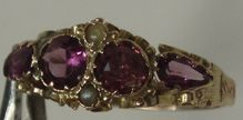 Antique Victorian Amethyst Pearl 12kt Gold Ring Chased Band d1873 US 6 1/4 UK M 1/2