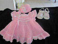 Crochet Baby Dress  hat♥