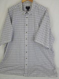 HARBOR BAY Men's 4XL White & Blue Plaid Button Down Collar Shirt FREE SHIPPING