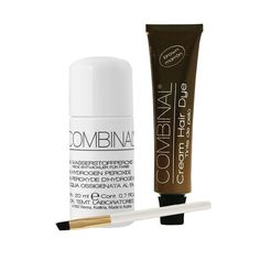 Combinal Cream Hair Dye (Brown) .5 oz with Brush & 5% Hydrogen Peroxide .7 oz. Combinal Cream Hair Dyes penetrate deep into the hair structure. Delivers maximum color intensity. Long lasting glossy shine and high coverage results, lasts up to 8 weeks, results in 8 to 10 minutes. 5% Peroxide helps achieve correct consistency when blending two products together. Set includes 1 tube of Brown, applicator brush, and one bottle of Peroxide.