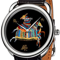 Trio of Exquisite Equestrain Inspired Dials in French Lacquer Technique – Hermes Arceau Cheval d'Orient Watches Hermes Watch, Orient Watch, Horse Jewelry, Luxury Watches, Jewelry Watches, Delicate, Mens Fashion, Accessories, Woman Cave