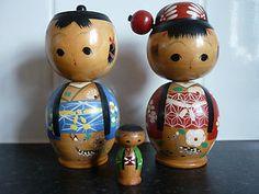 A Family Set of 3 Vintage Kokeshi Nodding Head Dolls