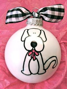 Puppy Ornament Personalized Ornament Dog Lover by HappyYouHappyMe Painted Christmas Ornaments, Dog Ornaments, Hand Painted Ornaments, Christmas Balls, Christmas Art, Christmas Projects, Personalized Ornaments, Holiday Crafts, Advent