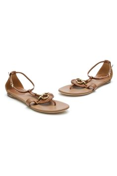 Gucci Brown Leather Snaffle Bit Flat Sandals