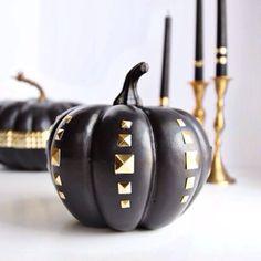 DIY: Black + Gold Studded Pumpkin  www.spraypaintandchardonnay.com #diy #halloween #pumpkins