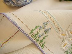 Punjabi Salwar Suits, Vintage Linen, Tablecloths, Table Linens, Craft, Haberdashery, Bed Drapes, Daisies, Monogram