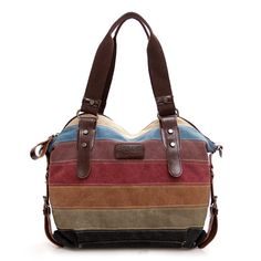 Swesy Fashion Multicolor Striped Canvas Bag Handbag Shoulder Bag for Women Girls Ladies -- Awesome products selected by Anna Churchill