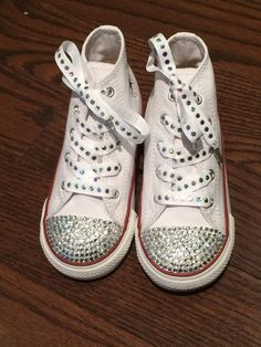 Kids Blinged Converse Wedding Shoe for Girls. by TrickedKicks