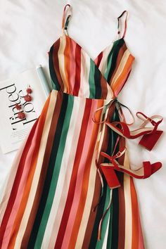 Stylish For Summer Rainbow Cami Dress Outfit Source by dress outfits Cami Dress Outfit, Dress Outfits, Fashion Dresses, Chic Dress, Maxi Dress Summer, Maxi Wrap Dress, Summer Dresses, Silk Dress, Wrap Dresses