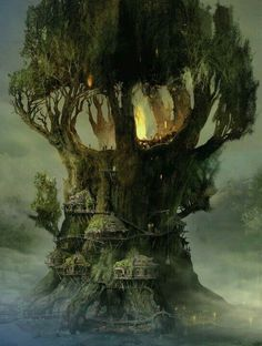 Wow this is a pretty nice fantasy tree house Fantasy Places, Fantasy World, Fantasy Artwork, Fantasy Concept Art, Fantasy Kunst, Fantasy Setting, Fantasy Landscape, Fantasy Trees, Fantasy Village
