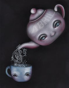 """""""Care for Tea"""" Original  Painting by Abril Andrade G    Size : 9x12""""Oil Painting on Canvas Sheet"""