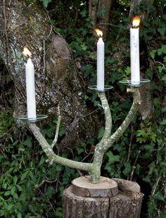 Une branche d'arbre transformée en chandelier - Marie Claire Idées