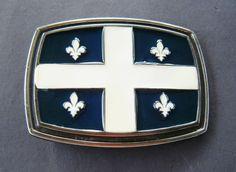 quebec canada drapeau fleur de lys flag old belt buckle