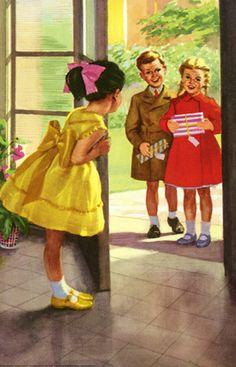 Ann opens the door - The Party - LadyBird Books 1960
