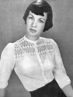 Blouse with Lacy Motif Yoke Vintage Crochet Pattern for download Width all around at underarms 36 inches