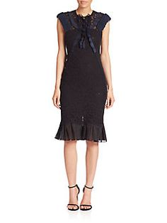 Rebecca Taylor - Solid Lace Jewelneck Dress