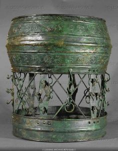 Circular bronze stand for vessels etc. with ornaments, from grave 507, burial site, Hallstatt, Austria. (c) Photograph by Erich Lessing. Hallstatt was the predominant Central European culture from the 8th to 6th centuries BCE (European Early Iron Age)