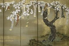 Tosa Mitsuoki (1617-1691), 'Flowering Cherry and Autumn Maple With Poem Slips'