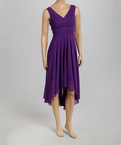 Look at this #zulilyfind! Ivy and Blu Maggy Boutique Purple Pleated Cassis Hi-Low Dress - Women by Ivy and Blu Maggy Boutique #zulilyfinds