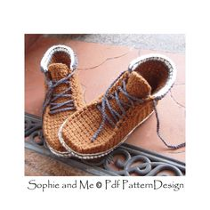 Ankle Boot Lace Up Slippers Slippers Crochet by PdfPatternDesign