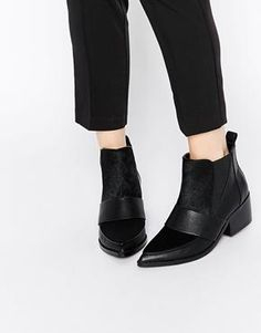 ASOS RUN AWAY Leather Mix Pointed Chelsea Ankle Boots