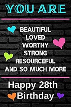You Are Beautiful Loved Worthy Strong Resourceful Happy 28th Birthday: Cute 28th Birthday Card Quote Journal / Notebook / Diary / Greetings / Appreciation Gift (6 x 9 - 110 Blank Lined Pages): Publishing, Ela: 9781086202229: Amazon.com: Books