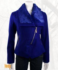 Lucy Paris Faux Fur Collar Moto Jacket