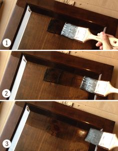 staining cabinets with polyshade stain and poly in one young house love - Cabinet Stain