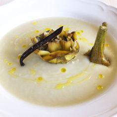 Zuppa di topinambur e carciofo alla vaniglia