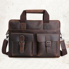 """Image of Vintage Cow Leather Briefcase Messenger Shoulder Bag 14"""" Laptop Macbook Bag--FREE SHIPPING"""