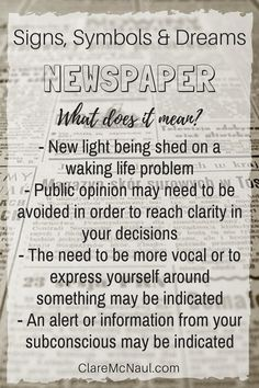 What's the news when Newspaper shows up in your dreams or psychic and mediumship readings? Psychology Meaning, Dream Psychology, Lucid Dreaming, Dreaming Of You, Dream Interpretation Symbols, Inspiring Quotes About Life, Inspirational Quotes, Facts About Dreams, Dream Act