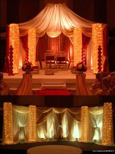 Lighted columns.