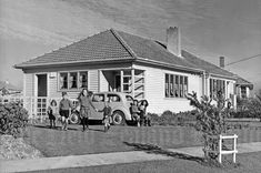 """In New Zealand we have what they call """"State Houses."""" They are a NZ icon, a piece of Kiwiana.- Very similar to our first home after arriving from England in 1952 Nz History, My Family History, 1940s Home, New Zealand Houses, Auckland New Zealand, Kiwiana, Affordable Housing, Island Life, Home And Away"""