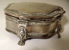 Gorgeous Vintage Silver Jewlery Container! Engraved initials- used to have one. i miss it