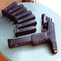 weaponslover: Mag on mag on mag Gun: Glock 19 - Weapons Lover Weapons Guns, Guns And Ammo, Rifles, Glock 9mm, Glock Guns, Fire Powers, Assault Rifle, Cool Guns, Self Defense