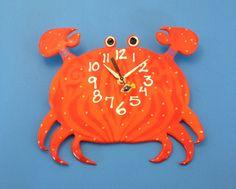 New to PondScumCeramics on Etsy: Kid's clock Clay Crab Wall Clock for Ocean Nursery Theme (48.00 USD)