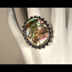Abalone Shell Ring Abalone She'll Gemstone Ring. Size 7,5 Jewelry Rings