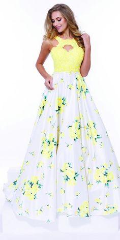 Long Prom Evening Flower Print Skirt Dress