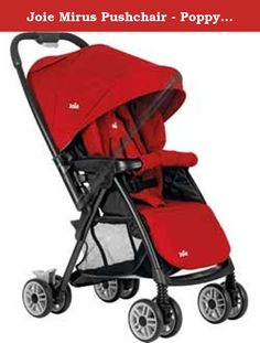 Joie Mirus Pushchair - Poppy Red. Built to last, the sturdy Joie Mirus pushchair comes with a reversible handle that allows your baby to look both ways. It's quick and easy to reverse the push bar without disturbing the baby. This lightweight pushchair has a quick and compact one-hand fold and looks stylish and vibrant in poppy red. It comes loaded with accessories like a rain cover, a shopping bag and a hood for convenience.