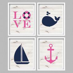 Nautical Nursery Digital Art Prints Pink & by PerfectlyMatched