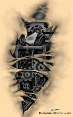 Biomechanical tattoo design by Vo1D-DaNMaN on @DeviantArt