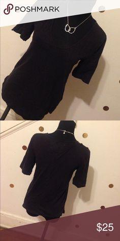 Pure + Good Plain Black Tee Size S Plain Black Anthropologie Shirt.  Normal Wear.. Anthropologie Tops Tees - Short Sleeve