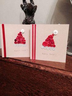 Santa baby button christmas cards