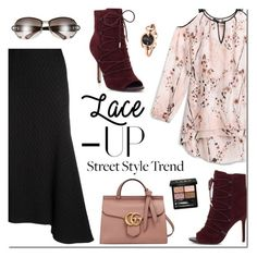 """Lace it Up: Street Style BOOTIES"" by sjkdesign ❤ liked on Polyvore featuring White House Black Market, Victoria Beckham and Gucci"