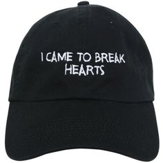 Nasaseasons Women Break Hearts Embroidered Baseball Hat (1,785 MXN) ❤ liked on Polyvore featuring accessories, hats, caps, fillers, black, embroidered hats, baseball cap hats, baseball cap, embroidery caps and embroidery hats