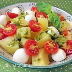 ensalada-de-patatas-con-pesto Patatas Al Pesto, Peruvian Recipes, Potato Salad, Veggie Recipes, Salad Recipes, Vegetarian Recipes, Healthy Recipes, Salad Bar, Fruit Salad