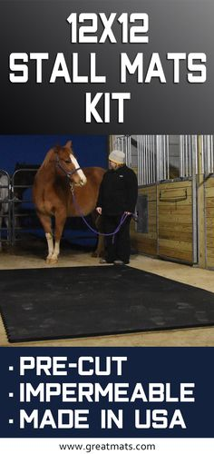 Horse Stall Mats Ft Kit are pre-cut to fit foot horse stalls. These stall mats are impermeable to moisture. They are made in the USA with high quality rubber. Horse Shelter, Horse Stables, Horse Farms, Tiny Horses, My Horse, Horse Love, Dog Whelping Box, Barn Stalls, Horse Barn Plans