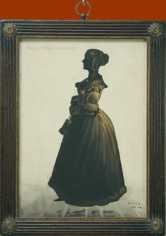 Antique Silhouette of Young Woman in Fur-Trimmed Coat by Charles Samuel Herve II.