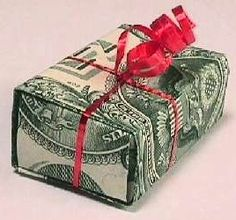 Money gift box. Instructions with pictures on this website. http://web.archive.org/web/20110629122155/http:/members.cox.net/crandall11/money/box/